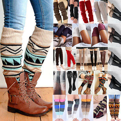 Womens Girl Leg Warmers Knee High Knit Crochet Leggings Boot Socks Slouch Retro