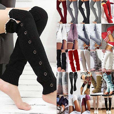 Women Girls Boot Socks Leg Warmers Crochet Knit Toppers Cuffs Knee High Legging