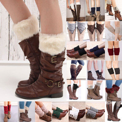 Leg Warmers Boot Socks Women Girls Cuff Crochet Knit Toppers Knee Legging Winter