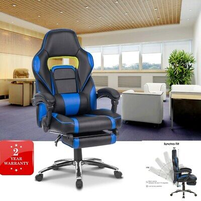 Office Chair Leather Gaming Recliner Swivel Computer Ergonomic High Back Lumbar