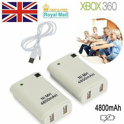 2 x 4800mAh Wireless Controller Rechargeable Battery Pack For Xbox 360 White UK