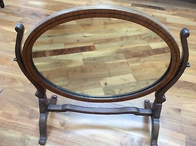 Antique Satinwood & Mahogany Table Top Swing Mirror