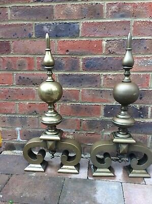 24 Inch Top Quality Antique Brass Fire Dogs  _ Priced To Sell.