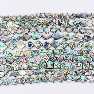 Natural Gemstone Abalone Shell Heart Square Oval Coin Spacer Loose Beads