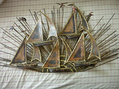 Vintage Metal Brass Wall Hanging Decor MCM Sail Boats Marine Nautical Sculpture