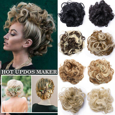 Real Thick Updos Scrunchie Messy Bun Curly Wavy Chignon Hair Extensions as Human
