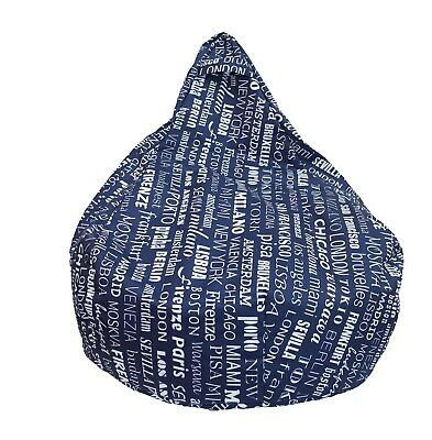 Poltrona Sacco Pouf Puff In Nylon Pieno Big City Blu - Italiano!!!