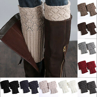 Women Girls Warmers Winter Leg Crochet Knitted Boot Socks Toppers Cuffs 1 Pair