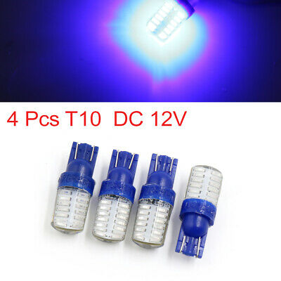 4 Pcs T10 Blue 24 SMD LED Car Interior Dashboard Side Wedge Light Bulb