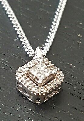 10ct White Gold Princess Cut Diamond Pendant Necklace