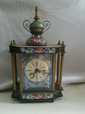 wonderful Chinese Cloisonne Copper machinery mechanical Device timepiece clock