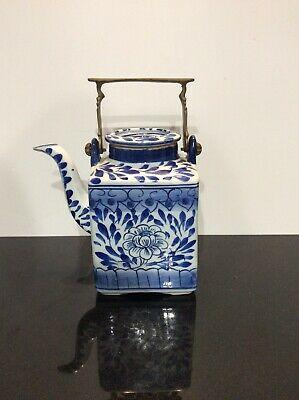 Square Blue White Chinese Oriental Teapot Unusual Brass Handle Vintage Display