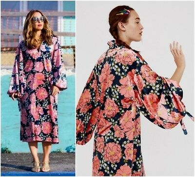 7b6cac27 Zara Multicoloured Floral Print Velvet Midi Dress With Long Puff Sleeves  Size S