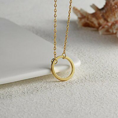 Simple Gold Circle Charm Pendant Chain Necklace Womens Jewellery Party Gifts New