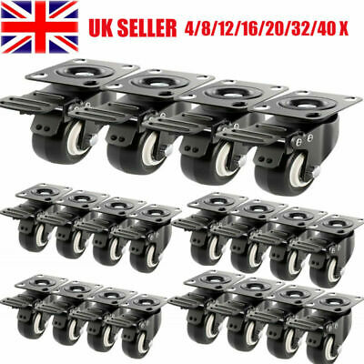 4/8/20/40X Castor Wheels Caster Heavy Duty Swivel Trolley Furniture Rubber 200kg