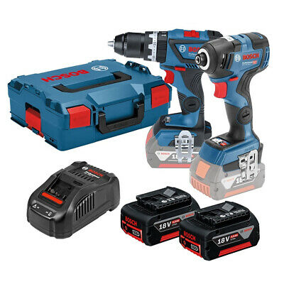 Bosch 18V Twin Kit Combi Drill & Impact Driver + 2 x 5Ah Batteries Charger Case