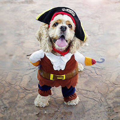 Pet Small Dog Cat Pirate Costume Outfit Jumpsuit  Cloth for Halloween R hn