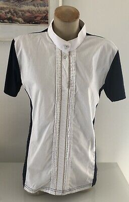 Navy White Competition Equestrian Riding Shirt Sz 14