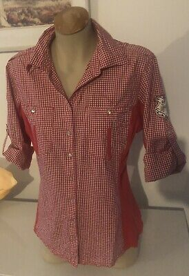 GOODE RIDER red And White Check Equestrian Shirt Size 12
