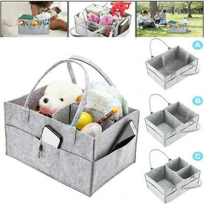 Baby Diaper Wipes Bag Caddy Nursery Storage Bin Infant Nappy Organizer Basket uk