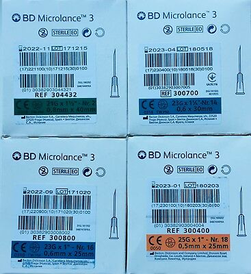 BD Microlance Hypodermic Sterile needles Blue 23G Green 21G Orange 25G Gym cycle