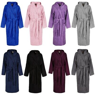 9be6f4e29 LUXURY 100% TERRY COTTON TOWELING HOODED BATH ROBE DRESSING GOWN SPA  LightWeight