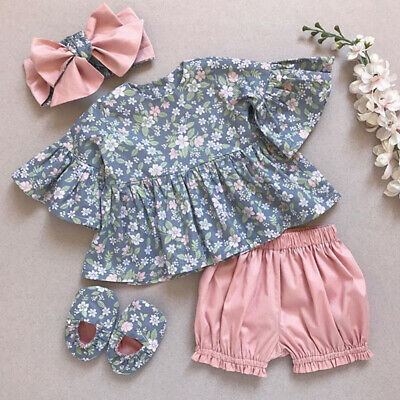 UK 3PCS Toddler Baby Girl Summer Clothes Floral Tops Dress+Short Pants Outfits