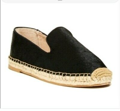 471ae7efe051 STEVE by STEVE MADDEN Black Calf Hair Espadrille Slip on Flats Shoes Sz 7
