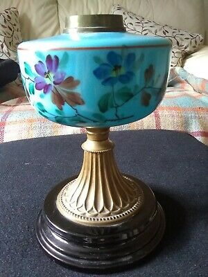 Victorian enamelled blue glass oil lamp font with base hand decorated