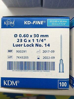 Needles Sterile Disposable Hypodermic Blue 23G KD Fine 100  igly  0.6 x 30 mm CE
