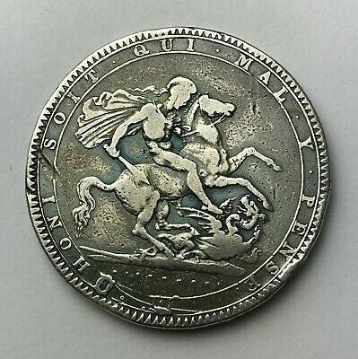 Dated : 1819 - Silver Coin - One Crown - King George III - Great Britain