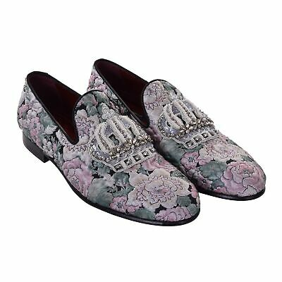 d50a3cc0734be DOLCE & GABBANA Floral Jacquard Loafer Shoes MILANO Crown Embroidery Green  06869