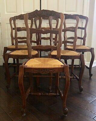 Antique Vintage French Oak Dining Chairs with Rush Seat - Total Of Six (6)