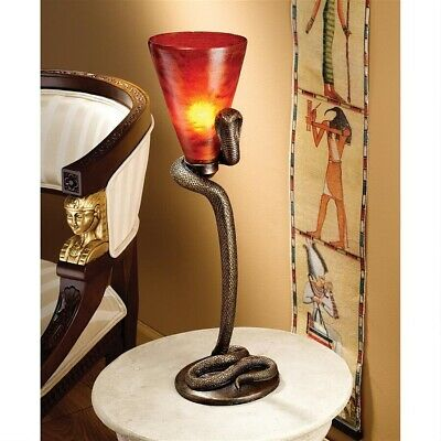 "21"" Ancient Egyptian Royal Serpent Accent Snake Table Lamp Decor"