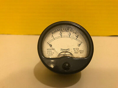 Ferranti Vintage Ammeter DC2 0 to -5 Moving Coil 1940 Military WW2 Steampunk