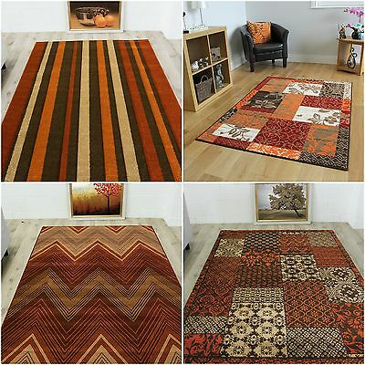 TAPIS MODERNE DESINGER salon contemporain patchwork rouge marron ...