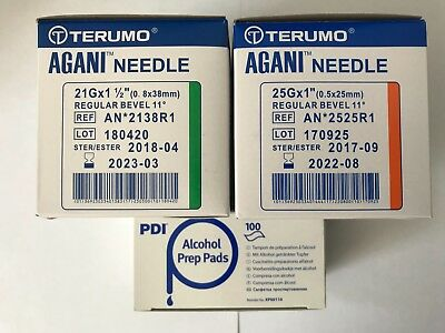 Terumo Agani Sterille Needles 25G Orange 21G Green PDI Swabs 12 weeks Pack