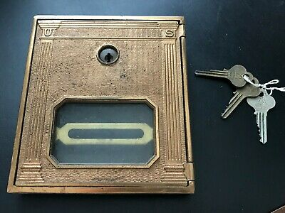 Antique BRASS Post Office CORBIN Postal Door with 3 Keys - Vintage Mail Box US 1