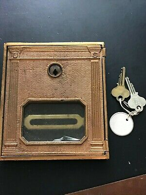 Antique BRASS Post Office CORBIN Postal Door with 2 Keys - Vintage Mail Box US 3