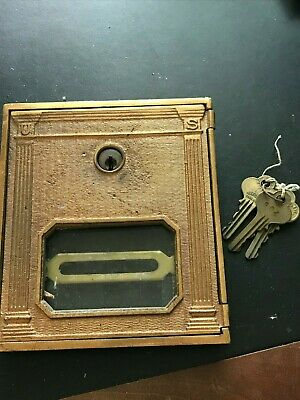 Antique BRASS Post Office CORBIN Postal Door with 3 Keys - Vintage Mail Box US 5