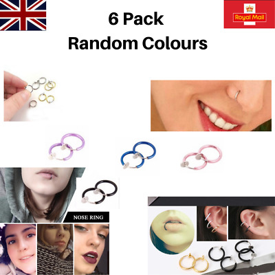 Nose Cuff Fake Clip On, Mixed Colour Nose Hoop, Fake Ear Ring No Piercing Needed