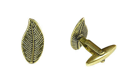 Leaf Cufflinks For Men Gold Nature Trees Cool Jewellery Wedding Black Tie Shirt