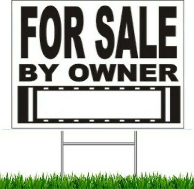 """4 Pack For Sale by Owner Large Outdoor 24""""x18"""" Land Yard Sign With Wire Stake"""