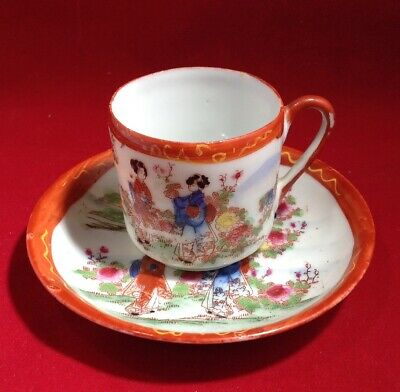 Antique Chinese Export Porcelain Famille Rose Tea Cup And Saucer