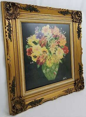 Vintage framed needlepoint picture vase of flowers signed Mid-Century
