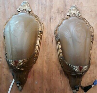 Pair Antique Art Deco Virden Glass Slip Shade Sconces Chandelier Wall Fixture
