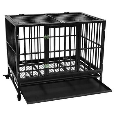"""42"""" Pet Folding Suitcase Dog w/Divider Cat Crate Cage Kennel w/Tray Black/Silver"""