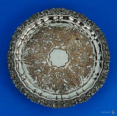 George IV OLD SHEFFIELD PLATE Footed CARD TRAY c1820 Floral Design