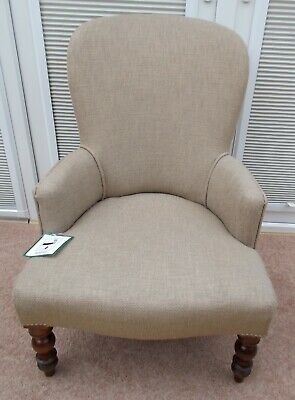 Antique Victorian Spoonback Mahogany Reupholstered Ladies Nursing Occasion Chair
