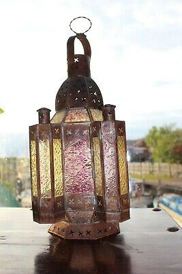 Antique Large French Vintage Church Candle Holder Colorful Glass Parisian Church